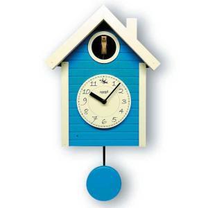 鳩時計 北欧カラ―ブルー さんてる 日本製 振り子はと時計 QL694BL  国産 手作り clock-shop-cecicela