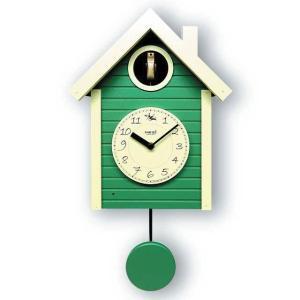 鳩時計 北欧カラ―グリーン さんてる 日本製 振り子はと時計 QL694GR  国産 手作り clock-shop-cecicela
