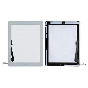 ipad4適合 交換用タッチパネル フロントガラス ホームボタン+取り付けテープ付属 ツール付き 修理パーツ部品 白