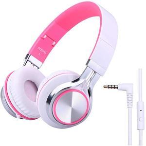 子供用 ヘッドホン FT58 キッズ用 ヘッドホン ステレオ 折りたたみ式 密閉型 ヘッドホン マイク付き MP3 携帯 ゲーム機 (ピンク)|clorets