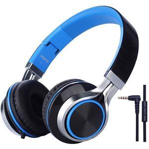 子供用ヘッドホン キッズ用 ヘッドホン折りたたみ式 ボリューム制限 密閉型 マイク付き 低音域 MP3 携帯 ゲーム機 (ブラックブルー)|clorets