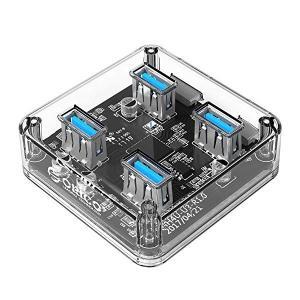 USB3.0 ハブ 4ポート 透明なボディー USB3.0の転送速度 5Gbpsまで 軽量 電源ポー...