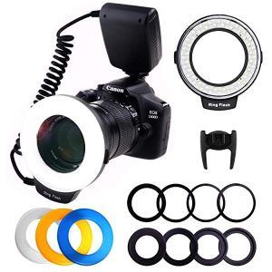 リングフラッシュカメラ/一眼レンズカメラ用 接写専用ストロボ LED 48球マクロリングライト/マク...