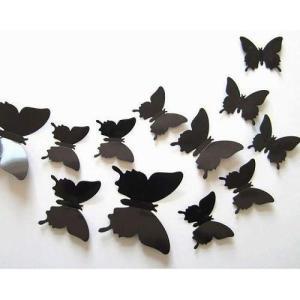 3D 立体 蝶 ウォールステッカー 部屋 の 飾りつけ 二次会 パーティー の装飾 に オシャレな蝶々 12匹セット|clorets