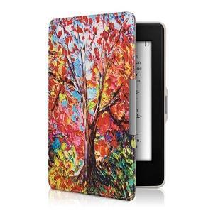 ・上品なレザールック: この手帳型ケース秋の木デザイン マルチカラー オレンジ 赤色は頑丈なPUレザ...