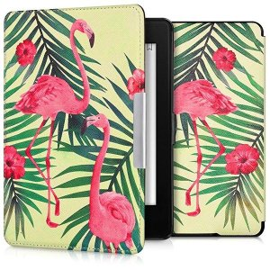 ・上品なレザールック: この手帳型ケースフラミンゴ&ヤシの木デザイン 薄ピンク 緑色 ライト...