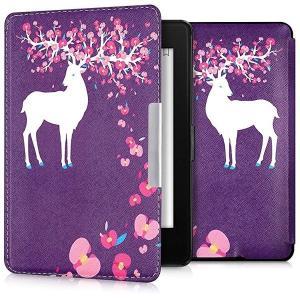 ・上品なレザールック: この手帳型ケース鹿フラワーデザイン 白色 薄ピンク 紫色は頑丈なPUレザーか...