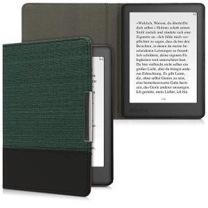 ・キャンバス地とレザー風ミックス: 緑色 黒色のフリップカバーを使用すると、eBookリーダーを頑丈...