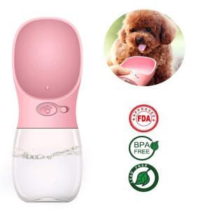 犬 給水器 携帯用 ペット ウォーターボトル 水槽付き 水漏れ防止 BPAフリー 犬猫 散歩 旅行用品 携帯便利 軽量タイプ (350ml, ピンク)WATER FOUTAIN|clorets