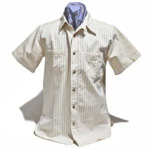 シュガーケーン SUGARCANE FUICTION ROMANCE 半袖シャツ ワークシャツ・SC37275 FICTION ROMANCE 8.5oz WHITE WABASH STRIPE WORK SHIRT|clothingstorespirits