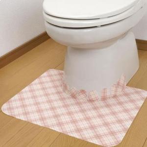 条件付き送料無料 サンコー おくだけ吸着 床汚れ防止マット チェック 1枚入代引き・同梱不可 敷くだけ 薄い 便所|cloudnic
