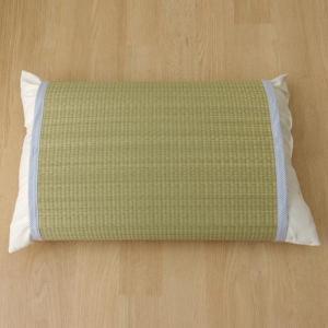 条件付き送料無料 枕パッド 国産い草使用 『無地 枕パッド かため』 ストライプブルー 約40×53...