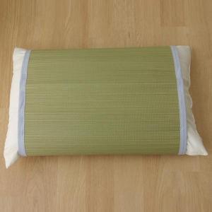 条件付き送料無料 枕パッド 国産い草使用 『無地 枕パッド やわらかめ』 ストライプブルー 約40×...
