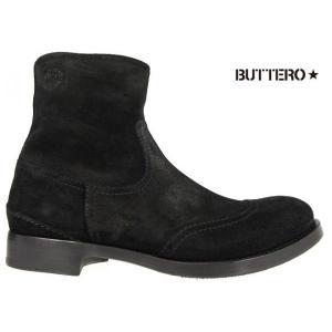 ブッテロ BUTTERO B4411 SAURO NERO B4411 ALCIONE ブラック スウェードレザー|cloudshoe