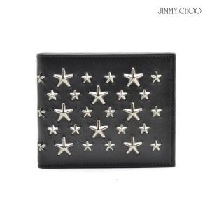 ジミー チュウ JIMMY CHOO MARK BLS 144 SLG Black Ganmetal 財布 ウェレット 2つ折り スタッズ 黒 ブラック メンズ|cloudshoe