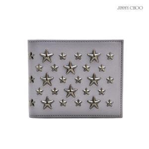 ジミー チュウ JIMMY CHOO MARK BLS 164 SLG Ice Grey 財布 ウェレット 2つ折り スタッズ グレー メンズ|cloudshoe