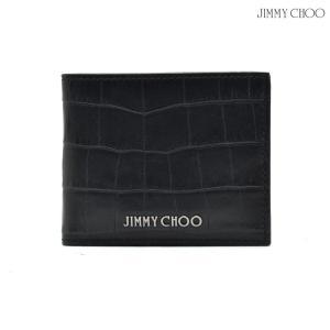 ジミーチュウ JIMMY CHOO MARK CZL NAVY MARK CZL 172 マーク 二つ折り財布  クロコ型押し ネイビー メンズ レディース|cloudshoe