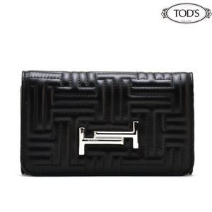トッズ TOD'S XAWAMPB3300XMA B999 WALLET BLACK 三つ折り財布 コンパクトウォレット ブラック 黒 レディース|cloudshoe