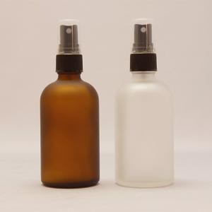 ガラスボトル半透明&茶色100ml 遮光瓶 スプレー付 フロスト加工詰替え