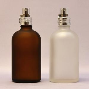 ガラスボトル半透明&茶色100ml 遮光瓶 アルミスプレー付 フロスト加工詰替え  クリップ付き