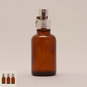 クリアガラスボトル アルミスプレー付 茶色 30ml×3本 ブラウン