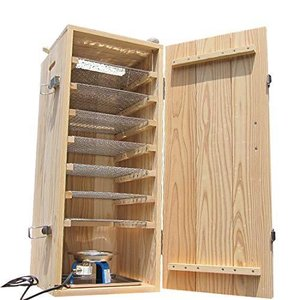 木製無垢スモーカー(ピートP150g・ヒノキ・メイプル・電熱器・温度計2・トレイ・脂受け、チップ用ボール・網10|clover05
