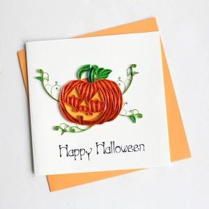 Quilling Card(クイリングカード)グリーティングカード[Jack'O Lantern]HD623【ジャックオランタン クイリング ペーパー ハロウィン かぼちゃ】|clubestashop
