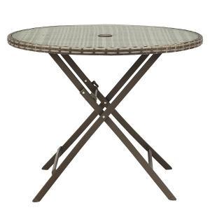 PATIO PETITE(パティオプティ) SAHARA サハラ・ラウンドテーブル 折りたたみ式丸テーブル 屋外用家具 ガーデンテーブル 折りたたみ テーブル 人工ラタン|clubestashop