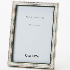 clubESTA Original フォトフレーム 写真立て ホワイト&グリーンフレーム M 2L判|clubestashop