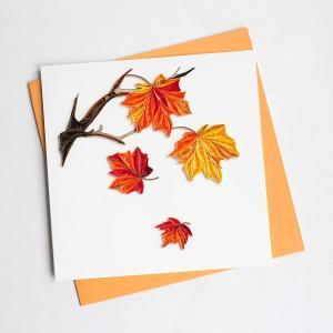 Quilling Card(クイリングカード)グリーティングカード[Autumn Leave]【紅葉 クイリング ペーパー 秋 ペーパークイリング】 clubestashop