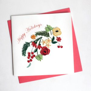 Quilling Card(クイリングカード) クリスマスカード Holiday Blooms  ホリデーブルーム|clubestashop