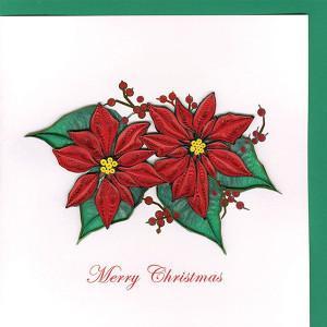 Quilling Card(クイリングカード) クリスマスカード Poinsettia ポインセチア clubestashop
