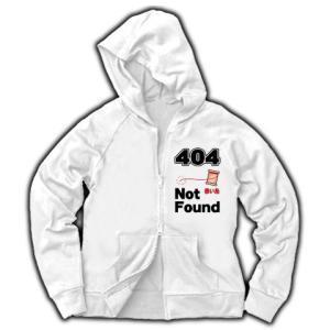 ニセ表示-404 赤い糸 Not Found(縦) ジャージージップパーカー(ホワイト)|clubtstore