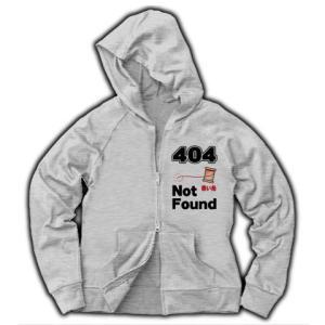 ニセ表示-404 赤い糸 Not Found(縦) ジャージージップパーカー(グレー) clubtstore