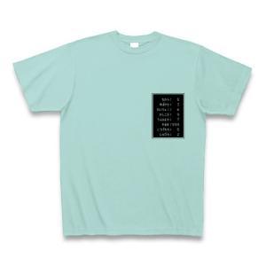 「ステータス やる気999」小 Tシャツ(アクア)
