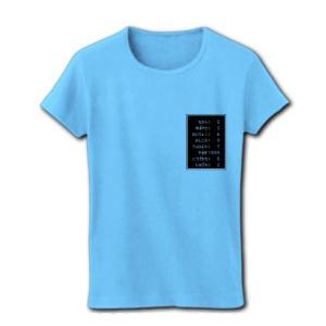 「ステータス やる気999」小 リブクルーネックTシャツ(ライトブルー)