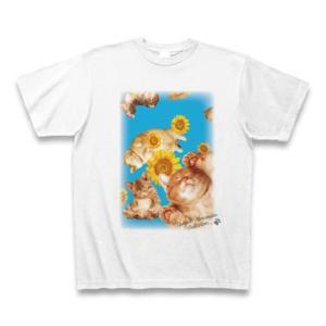 村松誠 ビッグコミックオリジナル2016年8月5日号「ひまわりと猫」Tシャツ(ホワイト)|clubtstore