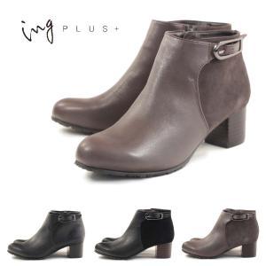 イングプラス ing PLUS+ブーツ ショートブーツ チャンキーヒール  ing3704 ips3...