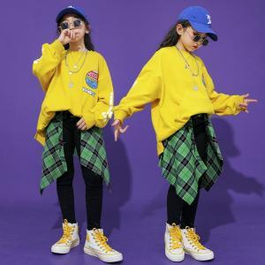 キッズ ダンス衣装 ヒップホップ セットアップ チェック柄 HIPHOP 長袖 巻きスカート トップス ズボン 男の子 女の子 子供服 韓国 かっこいい  白  ジーンズ|co-tyiya