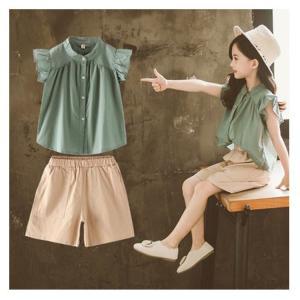 韓国こども服 セットアップ 子供服 上下 2点セット半袖Tシャツ トップス パンツ カジュアルパンツ サルエル 女の子 可愛いスタイル シンプル Tシャツ+パンツ co-tyiya