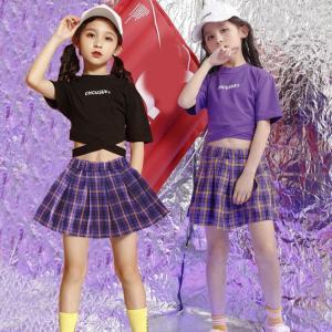 ダンス衣装 ヒップホップ チェック柄 スカートセット ガールズ キッズチア 上下 チアガール 女の子 ダンス 衣装 半袖 演出服 応援団 練習着     19xh27|co-tyiya