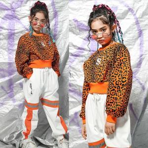 キッズ 女の子ダンス衣装 ヒップホップ HIPHOP衣装 長袖 レオパード柄 パーカー パンツ セットアップ キッズ 練習着 舞台衣装 ダンス 衣装  19xh71|co-tyiya