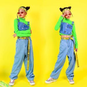 蛍光色シャツ パーカー ジャズダンス キッズ ダンス衣装 ヒップホップ 上下 セットアップ デニムズボン サルエルパンツ HIPHOP 演出服 長袖 ステージ衣装 練習着|co-tyiya