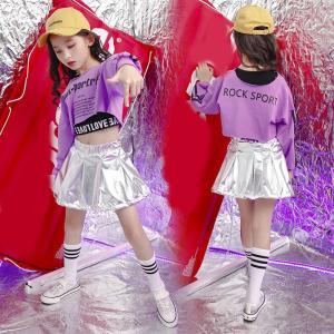キッズ ダンス衣装 ヒップホップ HIPHOP 子供 長袖 セットアップ ジャズダンス Tシャツ スカート 女の子 演出服 練習着 ステージ衣装