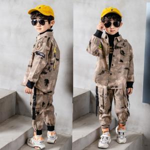 2点 韓国子供服 キッズ 迷彩 セットアップ  男の子 キッズ  アウター 子供用 トップス 春秋服 ジャケット co-tyiya