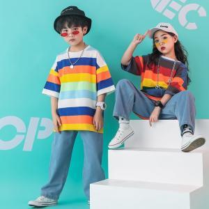 激安ダンス 衣装 ヒップホップ 韓国 キッズダンス衣装 トップス hiphop tシャツ 虹柄 半袖 キッズ ダンス デニム パンツ ダンスパンツ 日常着 ストリート|co-tyiya