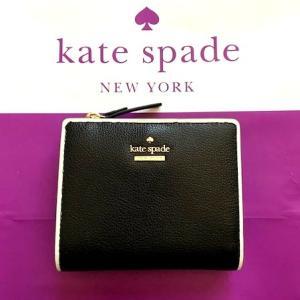5a9f3146c898 ケイトスペード Kate Spade エッジが可愛い 二つ折り財布 ブラック WLRU5387 送料無料