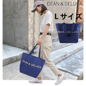DEAN&DELUCA ディーン&デルーカ  トートバッグ ネイビー ゴールドロゴ Lサイズ/ディーンアンドデルーカ エコバッグ|cobalt-shop