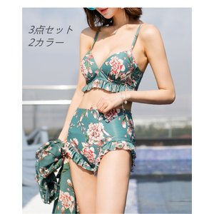 レディース 水着3点セット 花柄 韓国風 バンドゥビキニ セクシー 紫外線カット ビーチ 可愛い 体型カバー ハイウエスト|cobalt-shop