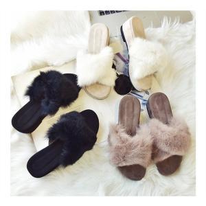 ファーサンダル ミュール レディース 楽ちん ローヒール 靴 シンプル ふわふわ もこもこ ペタンコ おしゃれ 可愛い ルームシューズ|cobalt-shop